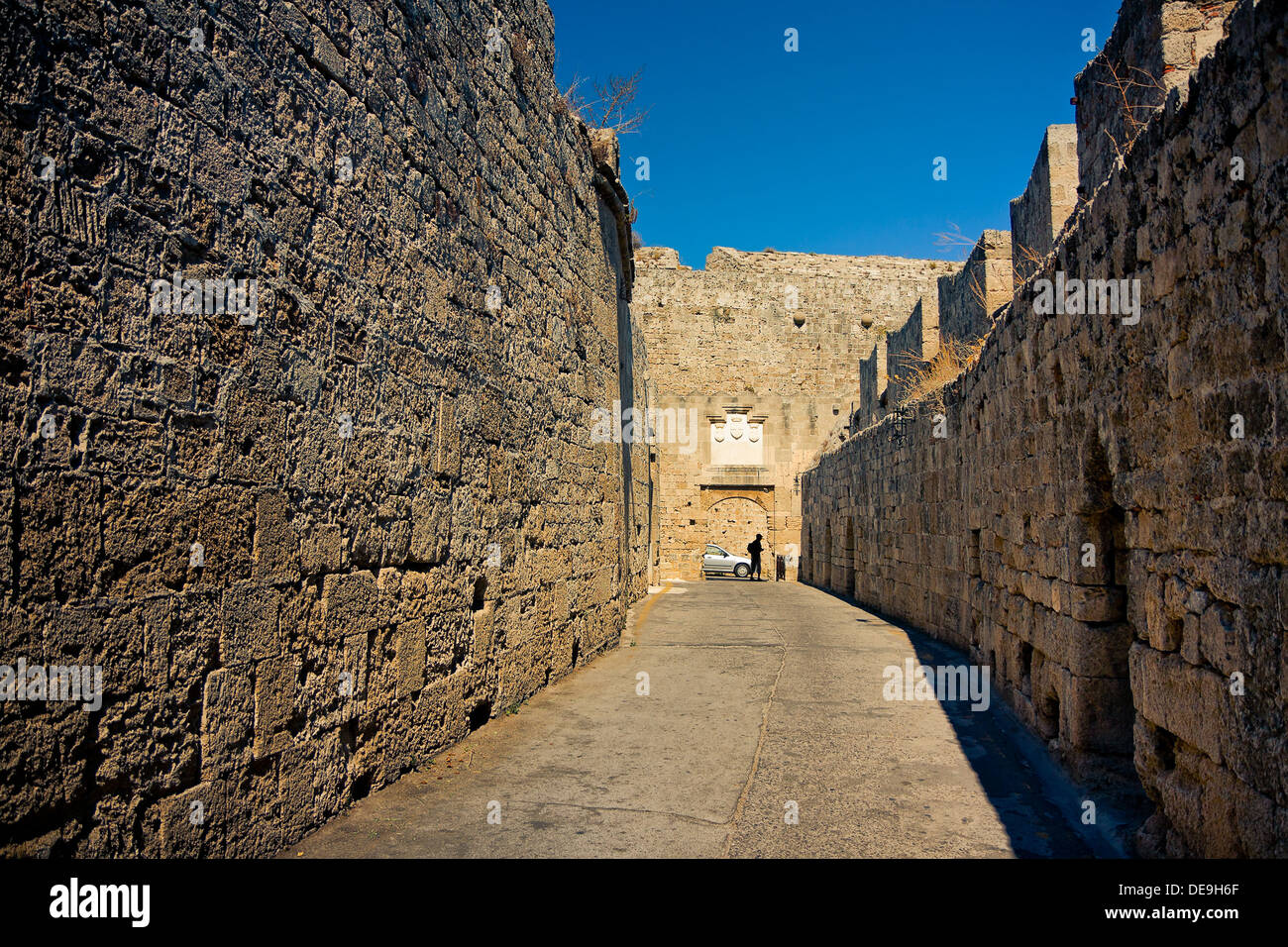 Rhodes Island ancient streets Stock Photo