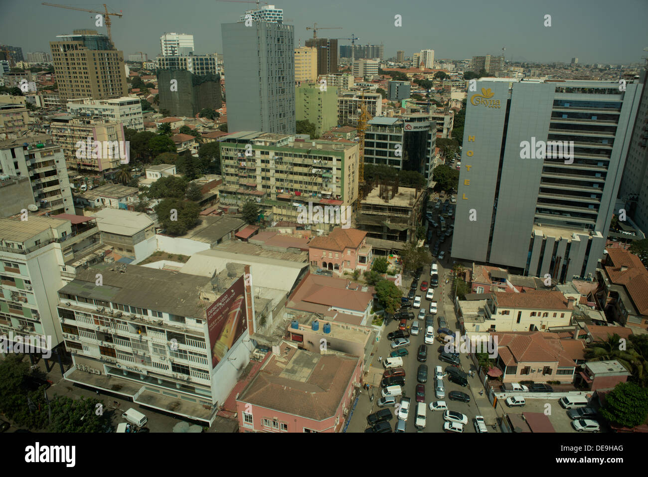 Luanda, Angola, showing new hotels and slum buildings - Stock Image