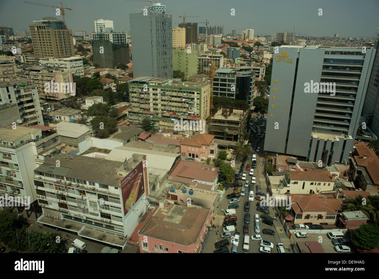 Luanda, Angola, showing new hotels and slum buildings Stock Photo