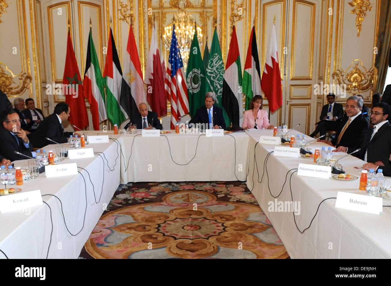 Secretary Kerry Meets With the Ministerial Delegation of the Arab Peace Initiative - Stock Image