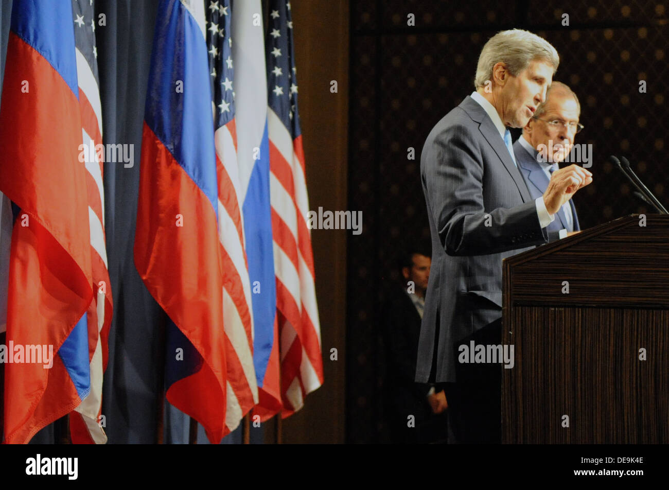 Secretary Kerry Speaks at the Start of Talks with Russian Foreign Minister Lavrov - Stock Image