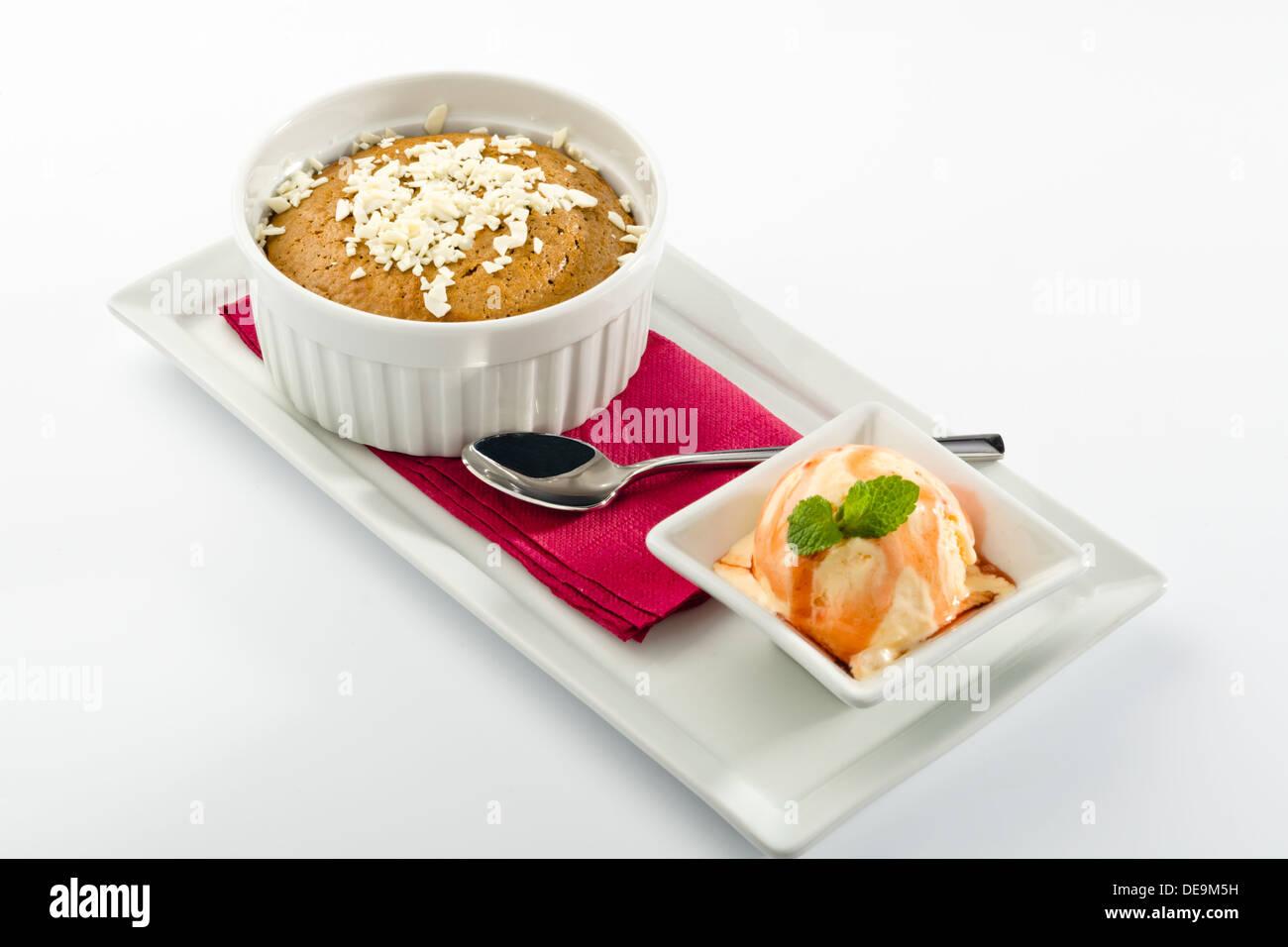 Hot chocolate fondant with ice cream Stock Photo