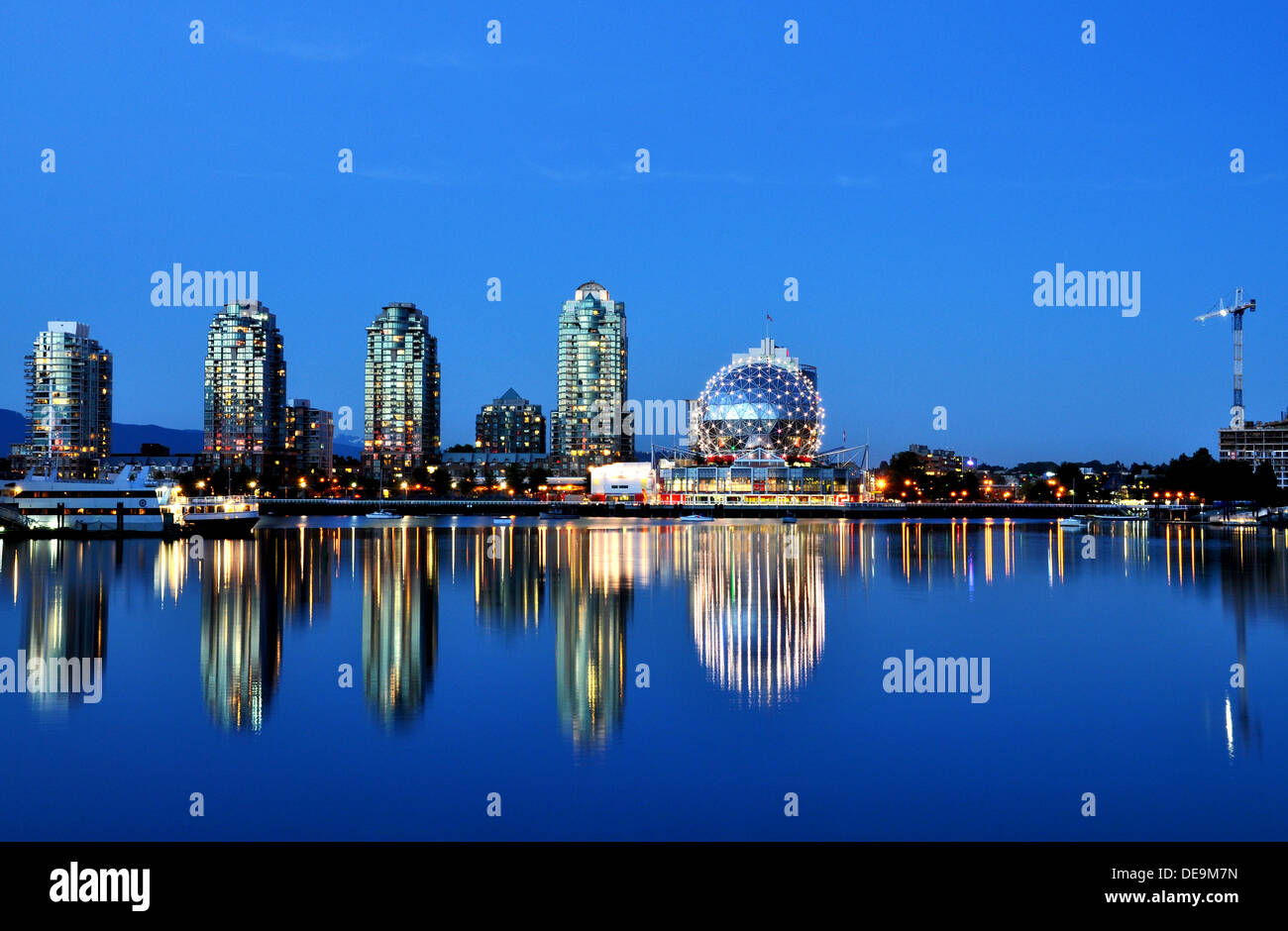 Blue hour at False Creek, Vancouver,BC, Canada - Stock Image