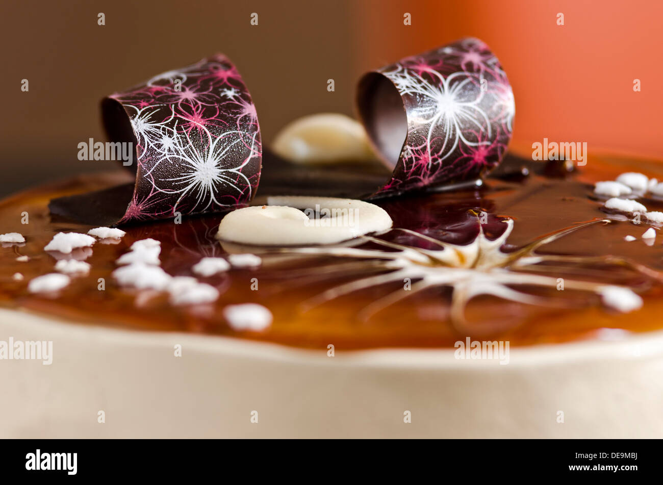 Delicious tiramisu cake - close up - Stock Image