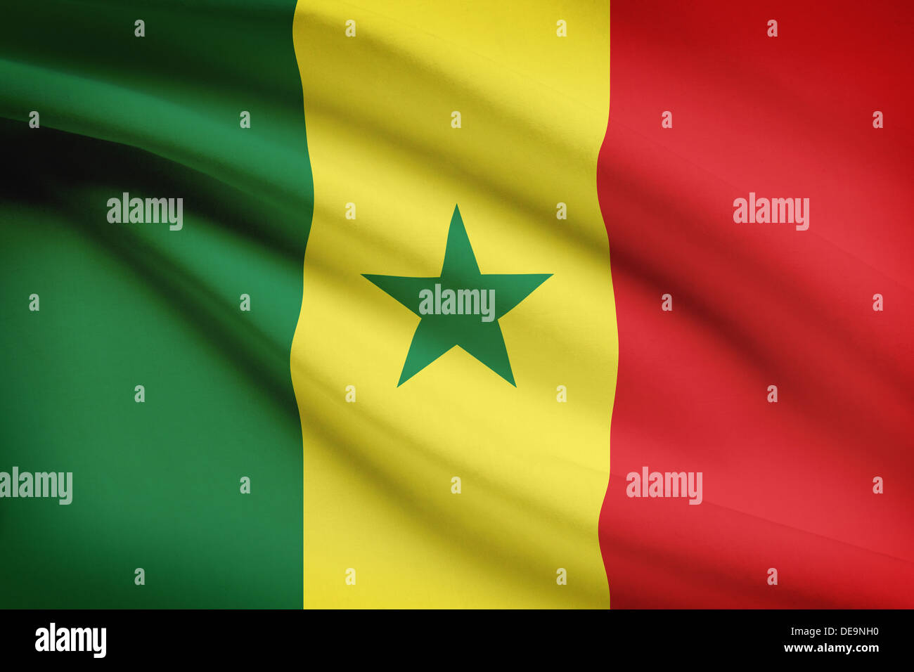 Senegalese flag blowing in the wind. Part of a series. - Stock Image