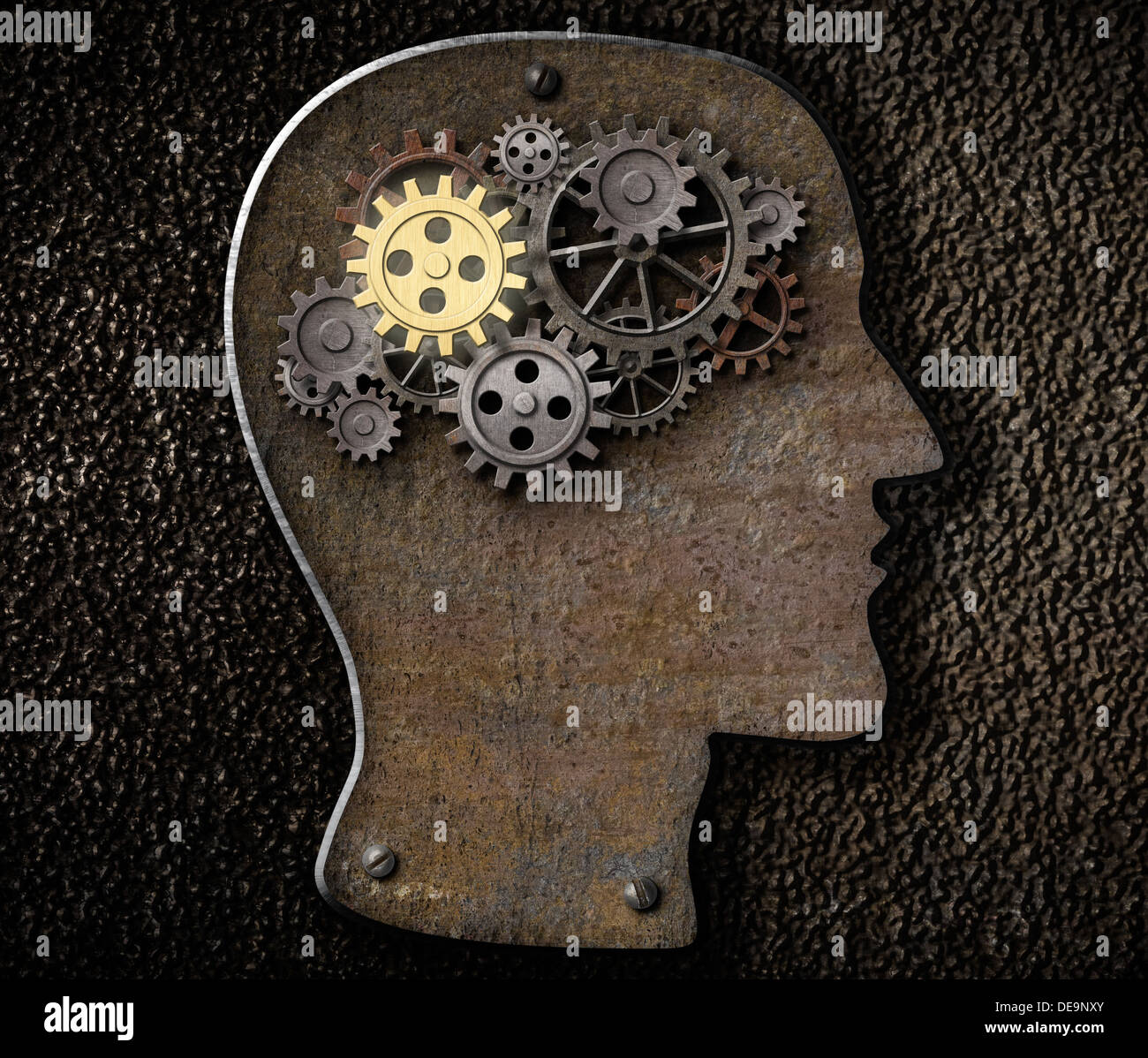 Brain mechanism gears and cogs made from rusty metal - Stock Image