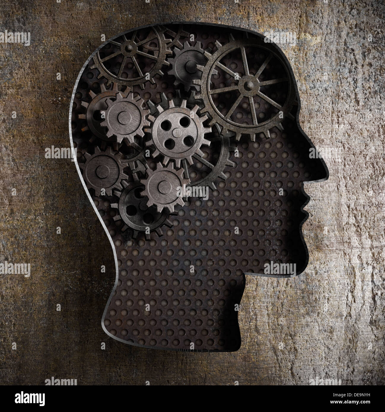 Brain work concept: gears and cogs from old rusty metal - Stock Image