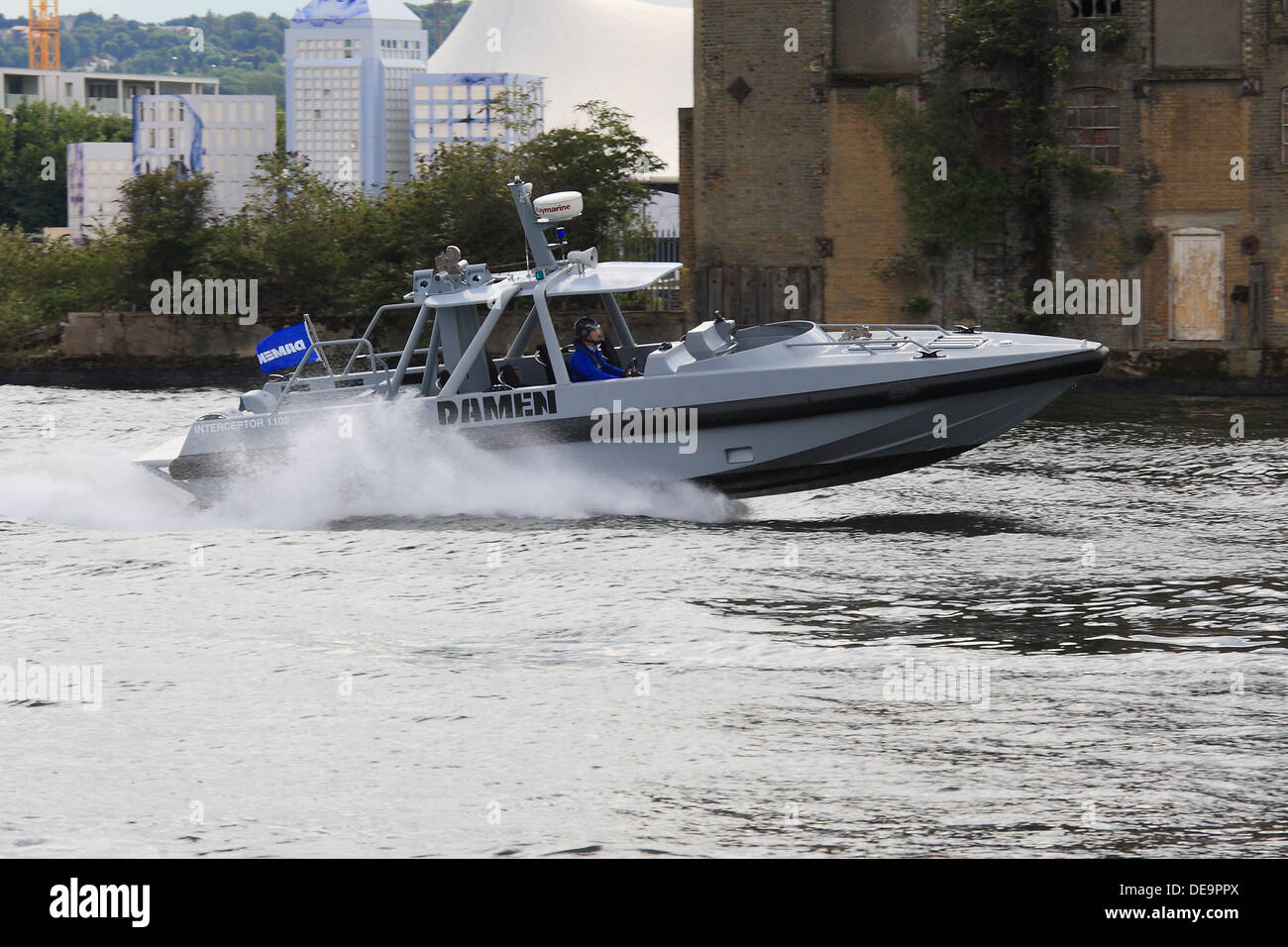 Damen Interceptor 1102 Developed for police, coastguard and navy displays at DSEi 2013 in London's Docklands Stock Photo