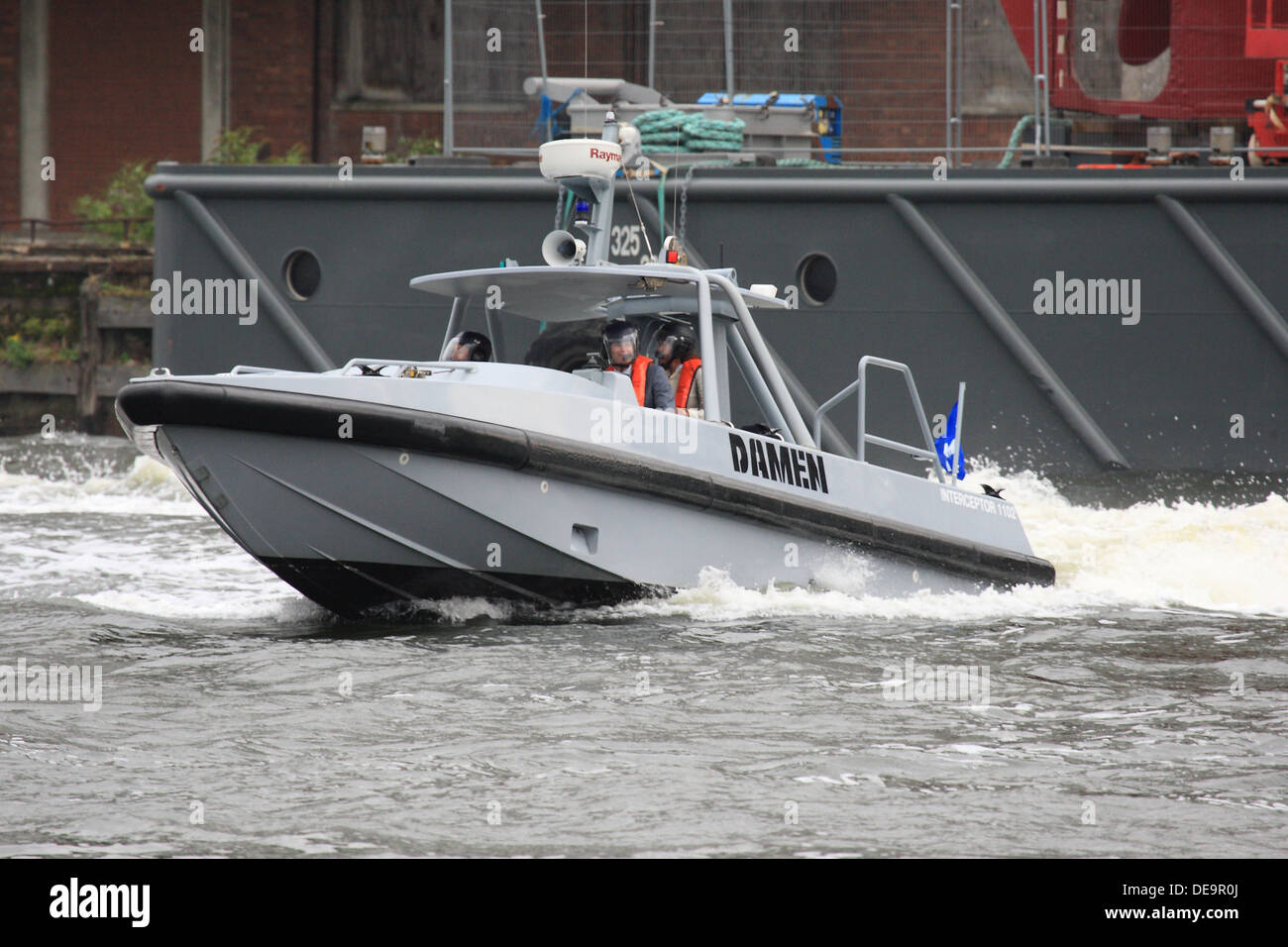 Damen Interceptor 1102 Developed for police, coastguard and navy displays at DSEi 2013 in London's Docklands - Stock Image