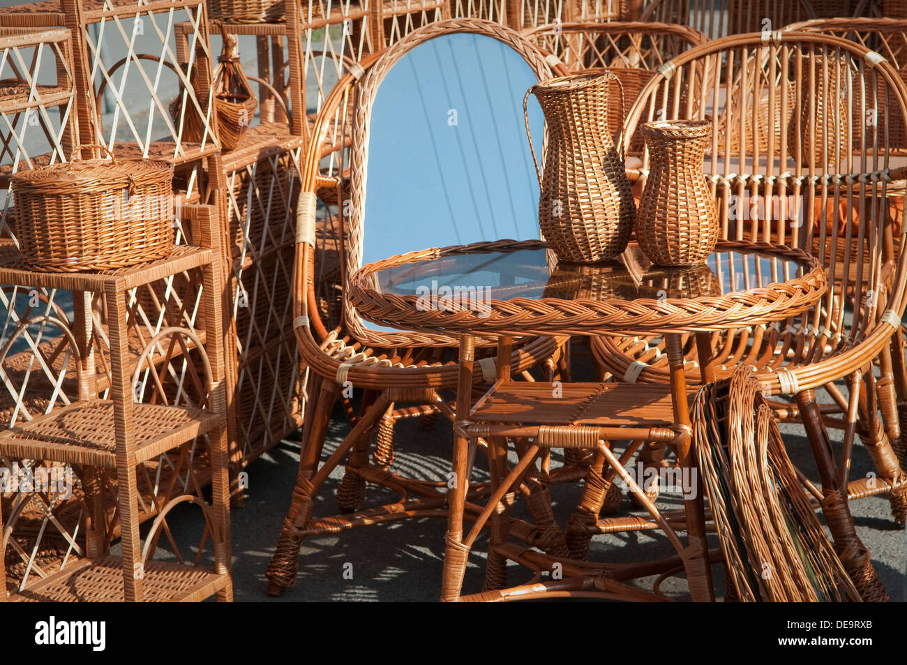 Hand Made Wicker Furniture For Sale At Local Craft Fair In Wadowice, Poland.