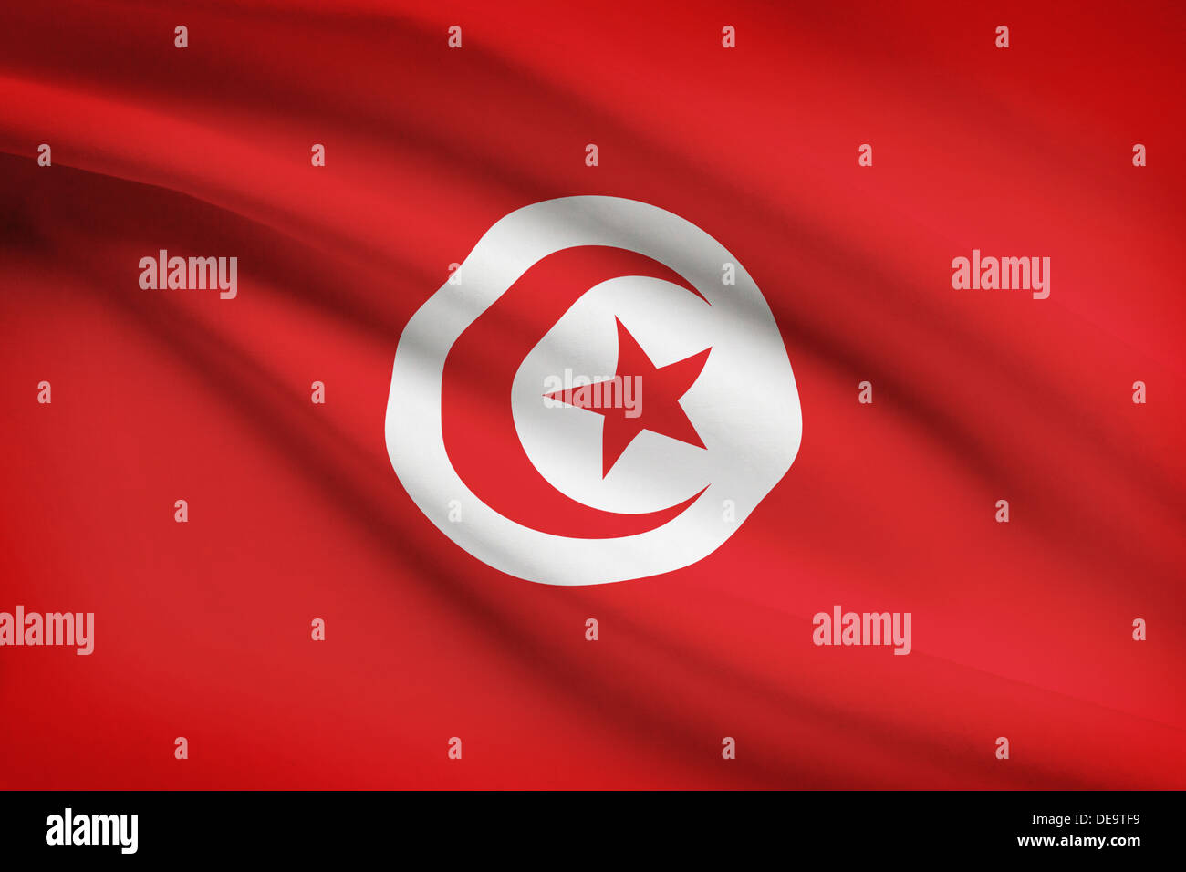 Tunisian flag blowing in the wind. Part of a series. - Stock Image