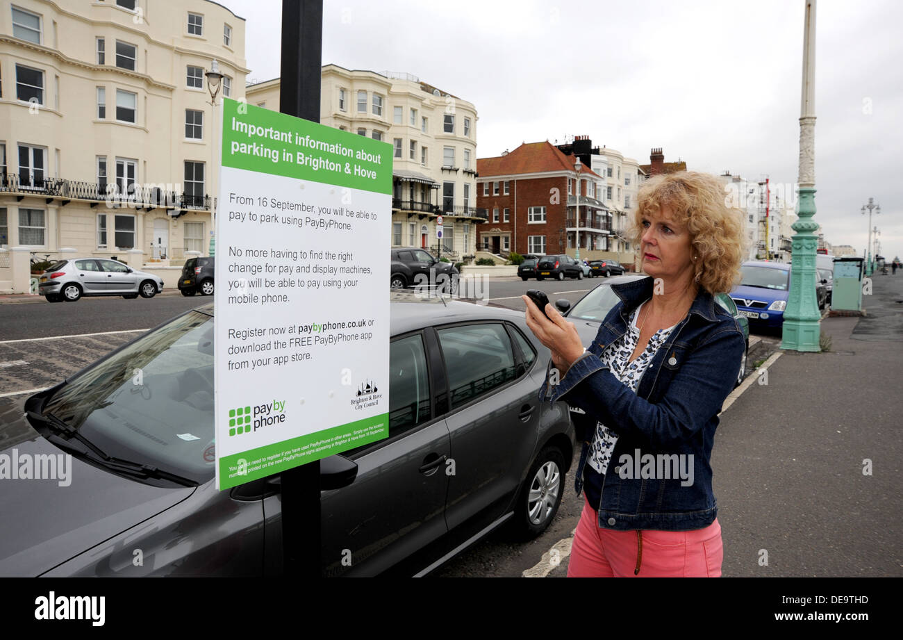 Brighton Sussex UK - From Monday 16th September it will be possible to pay for parking in Brighton by using your mobile phone - Stock Image