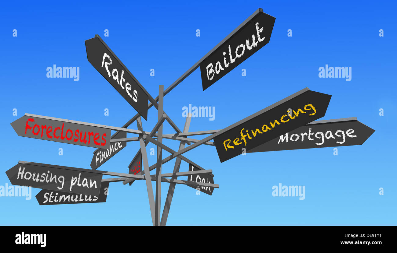 housing crisis words signs post over blue sky - Stock Image
