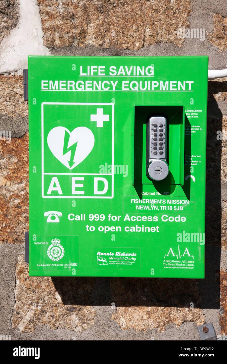 Life saving emergency equipment in a U.K. town. - Stock Image
