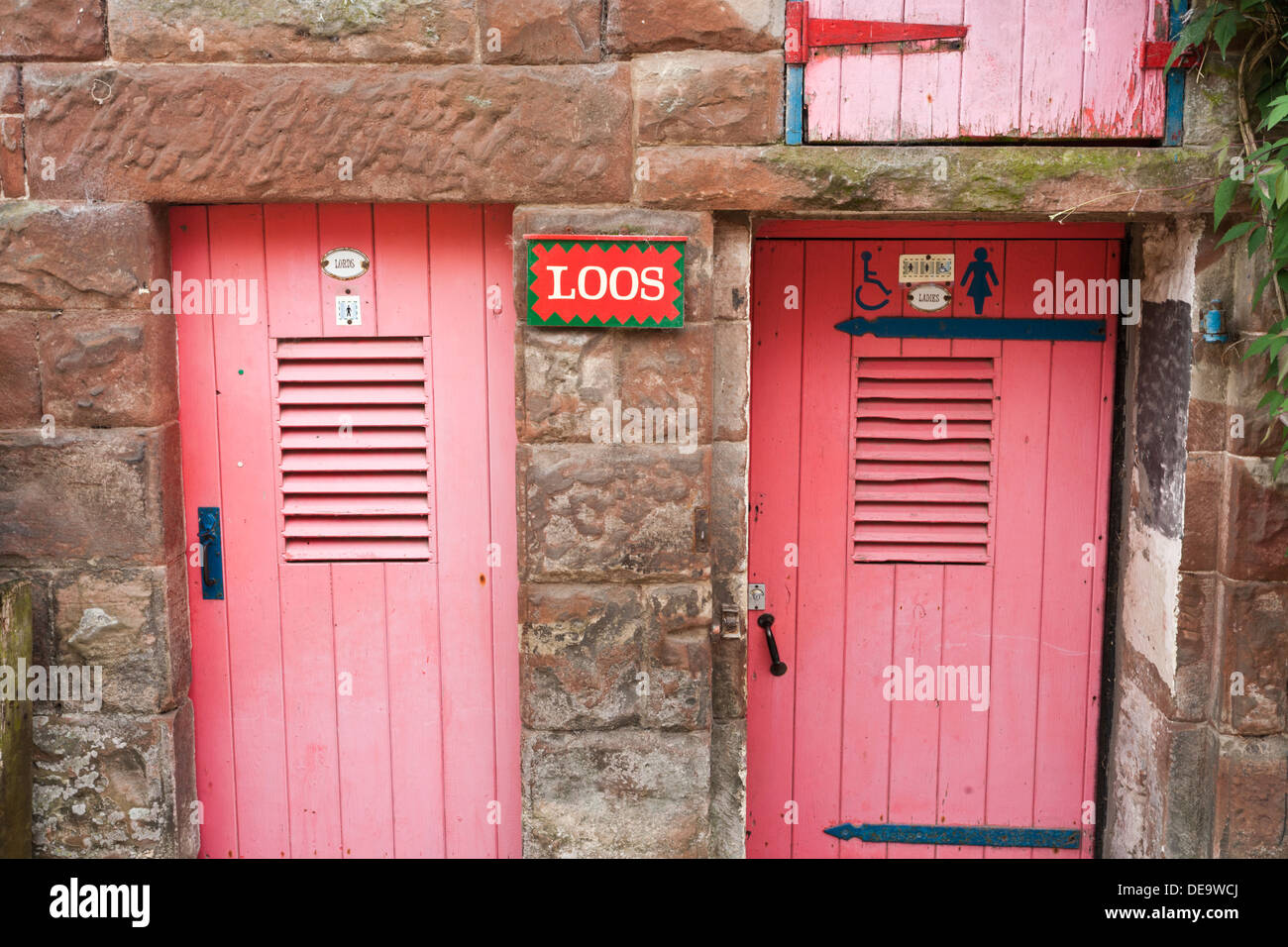 Amusing Lords & Ladies signs on the toilets at Little Salkeld Watermill, Cumbria UK - Stock Image
