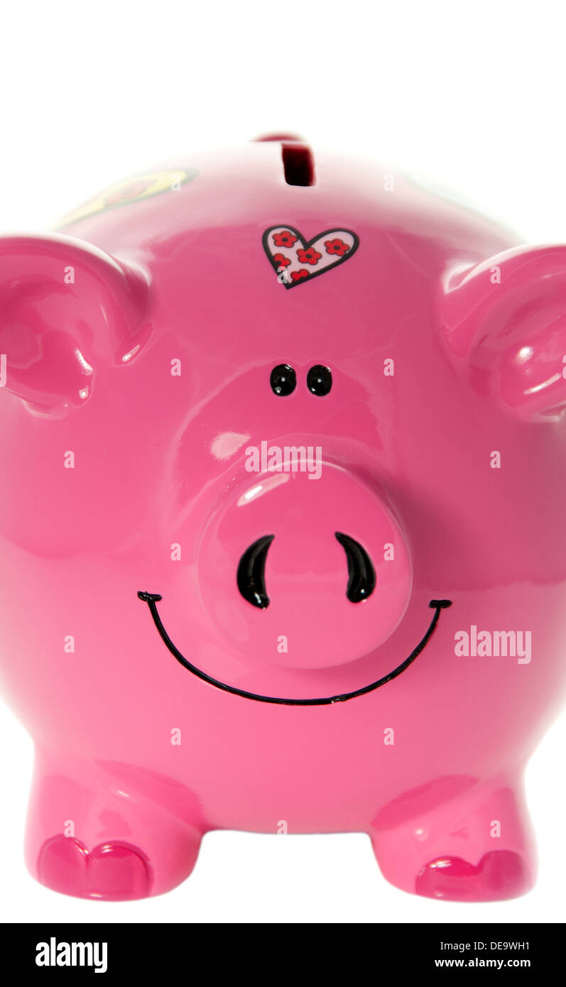 Close up of Pink Piggy Bank - Stock Image