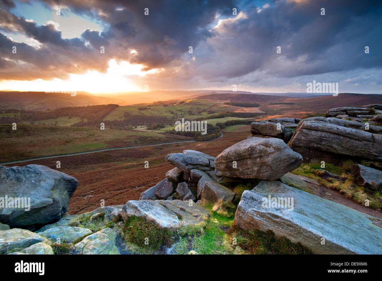 Sunset Over Stanage Edge, Near Hathersage, Peak District National Park, Derbyshire, England, UK - Stock Image