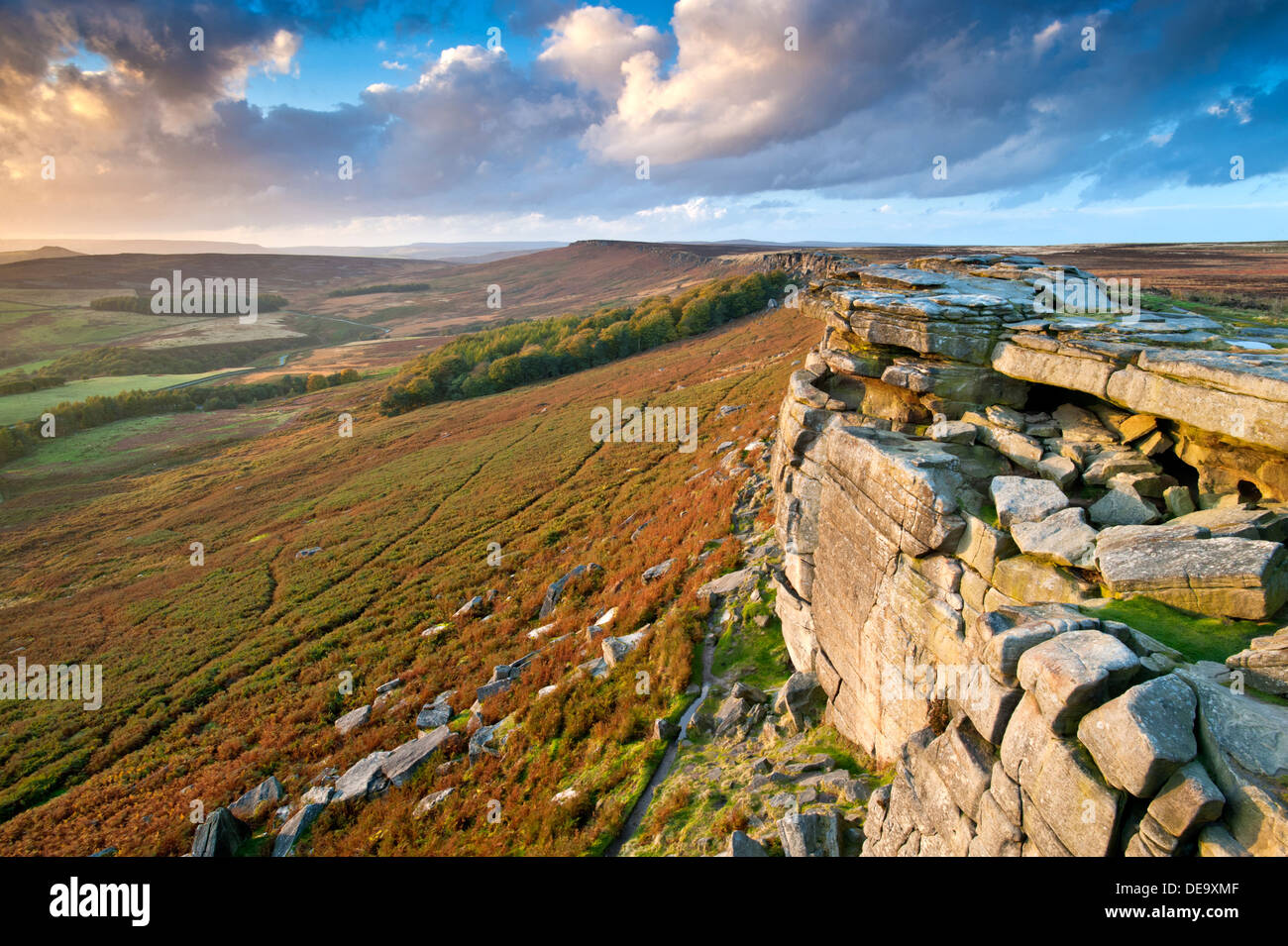 Stanage Edge Looking Towards High Neb, Near Hathersage, Peak District National Park, Derbyshire, England, UK - Stock Image