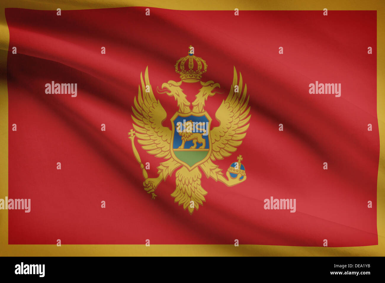 Montenegrin flag blowing in the wind. Part of a series. Stock Photo