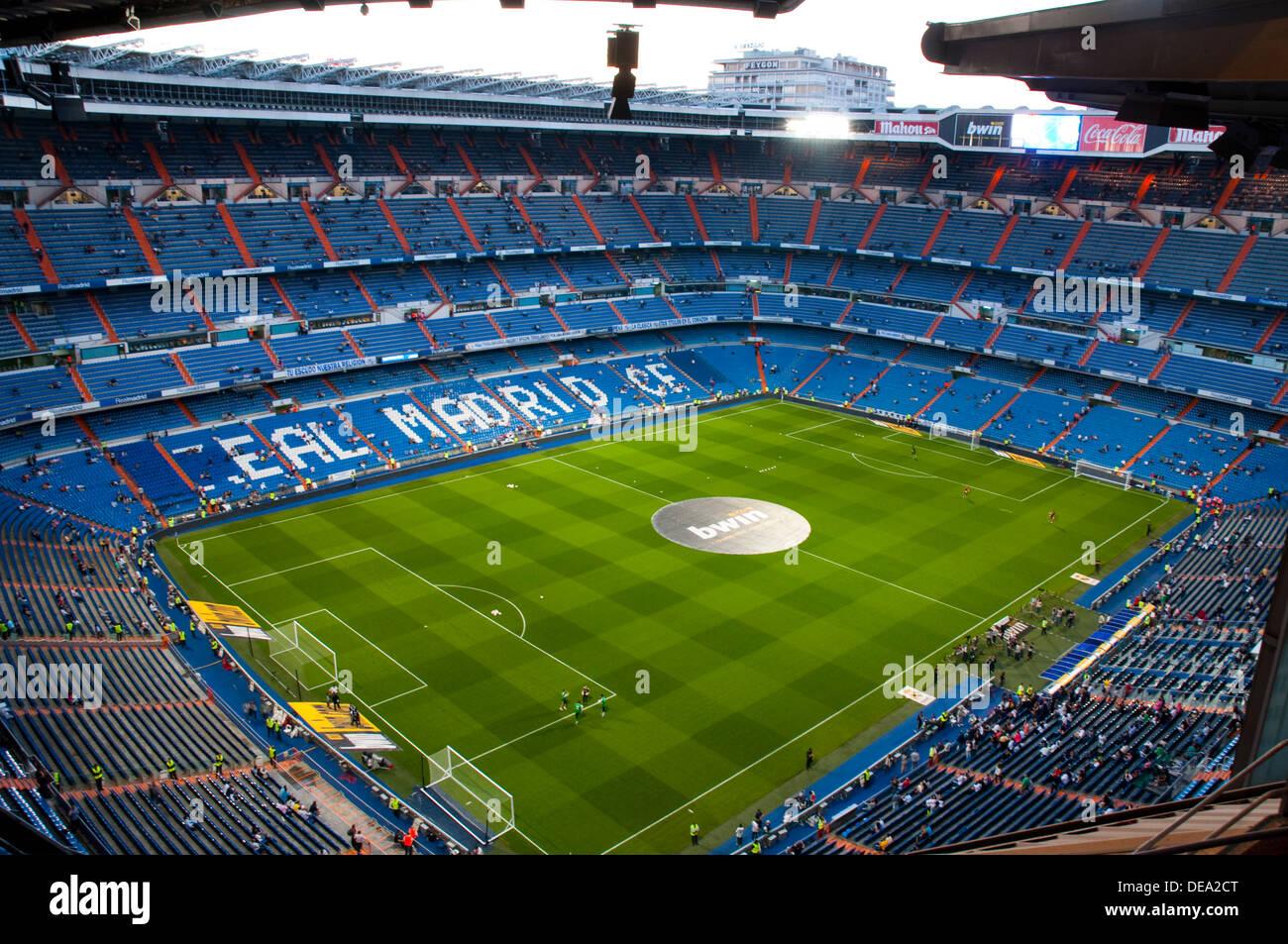 Santiago Bernabeu stadium before football match. Madrid, Spain. - Stock Image