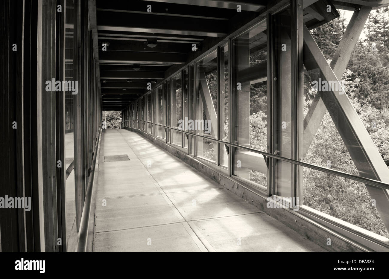 Long perspective of covered wood pedestrian bridge or walkway in black and white.  narrowing into the distance. Stock Photo