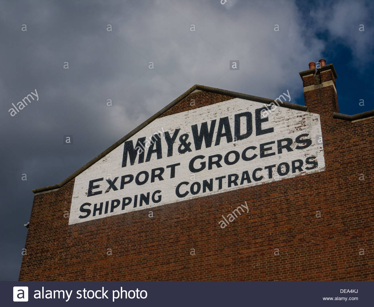 Cld May and Wade Export Grocers Shipping Contractors Building Southampton England UK - Stock Image