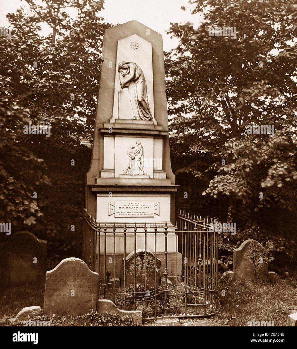 Greenock Highland Mary's Grave Victorian period - Stock Image