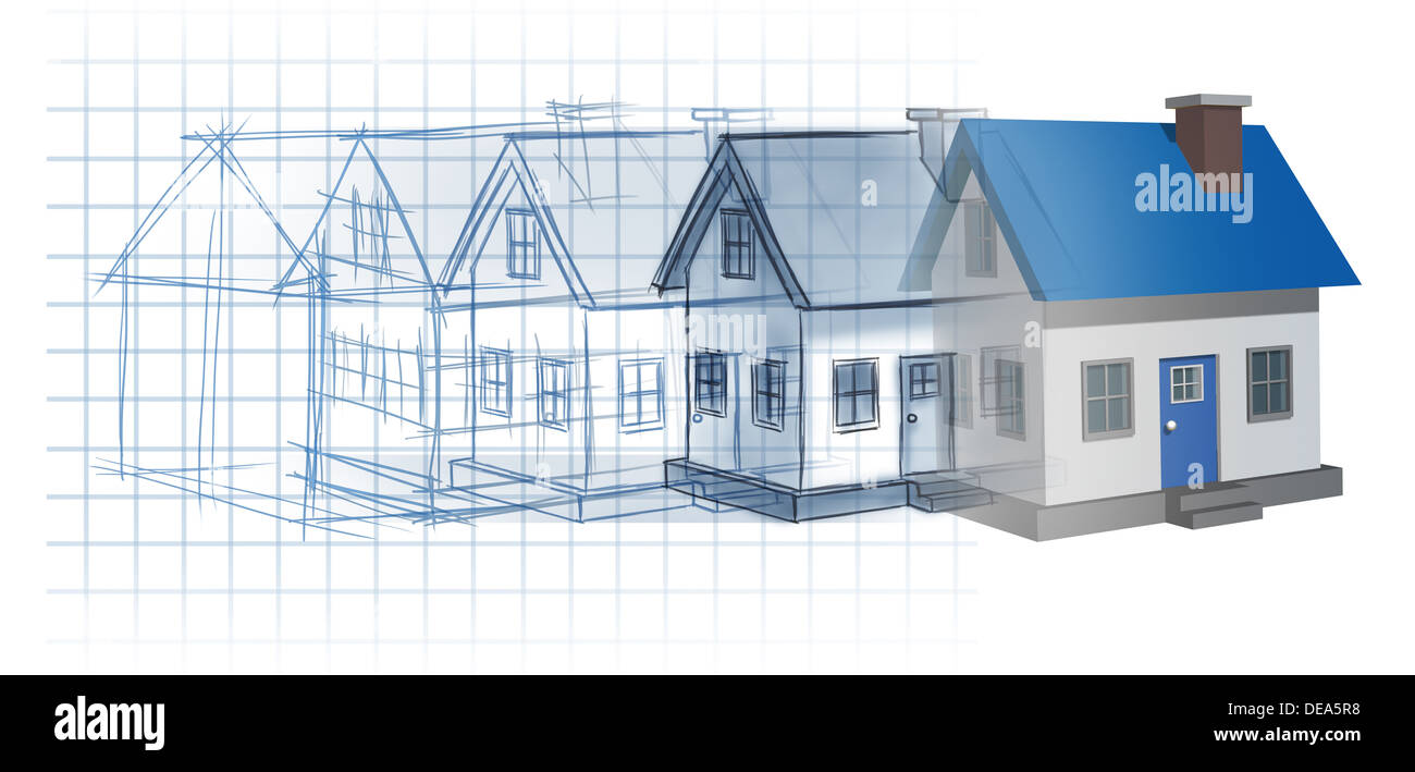 Residential development construction design and planning concept as residential development construction design and planning concept as a preliminary blueprint drawing sketch evolving to a finished built home as a housing malvernweather Image collections