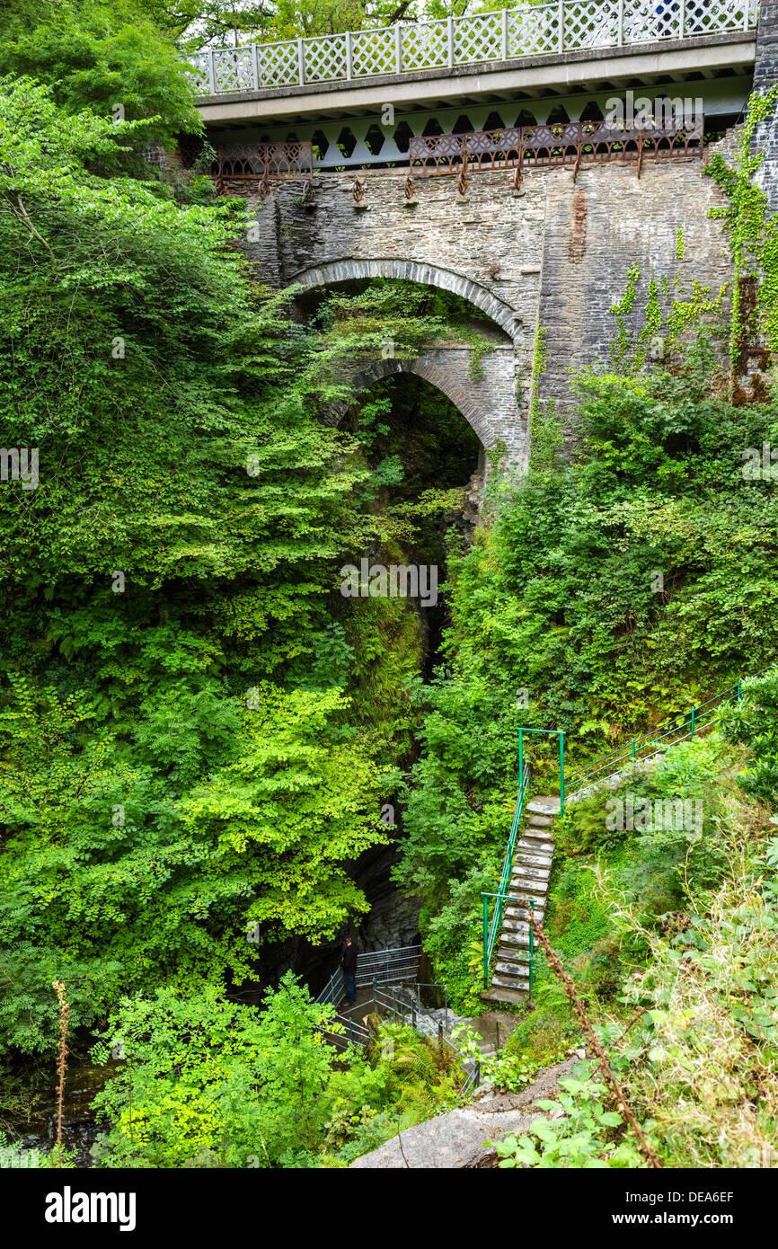 The bridge at Devil's Bridge, Ceredigion, Wales, UK - Stock Image
