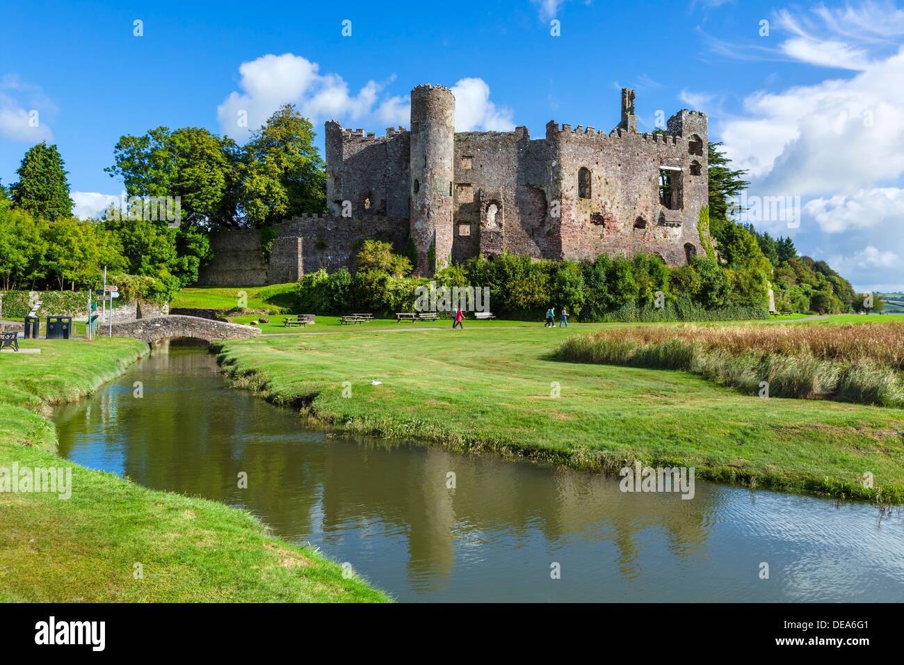 Laugharne Castle, Laugharne, Carmarthenshire, Wales, UK - Stock Image
