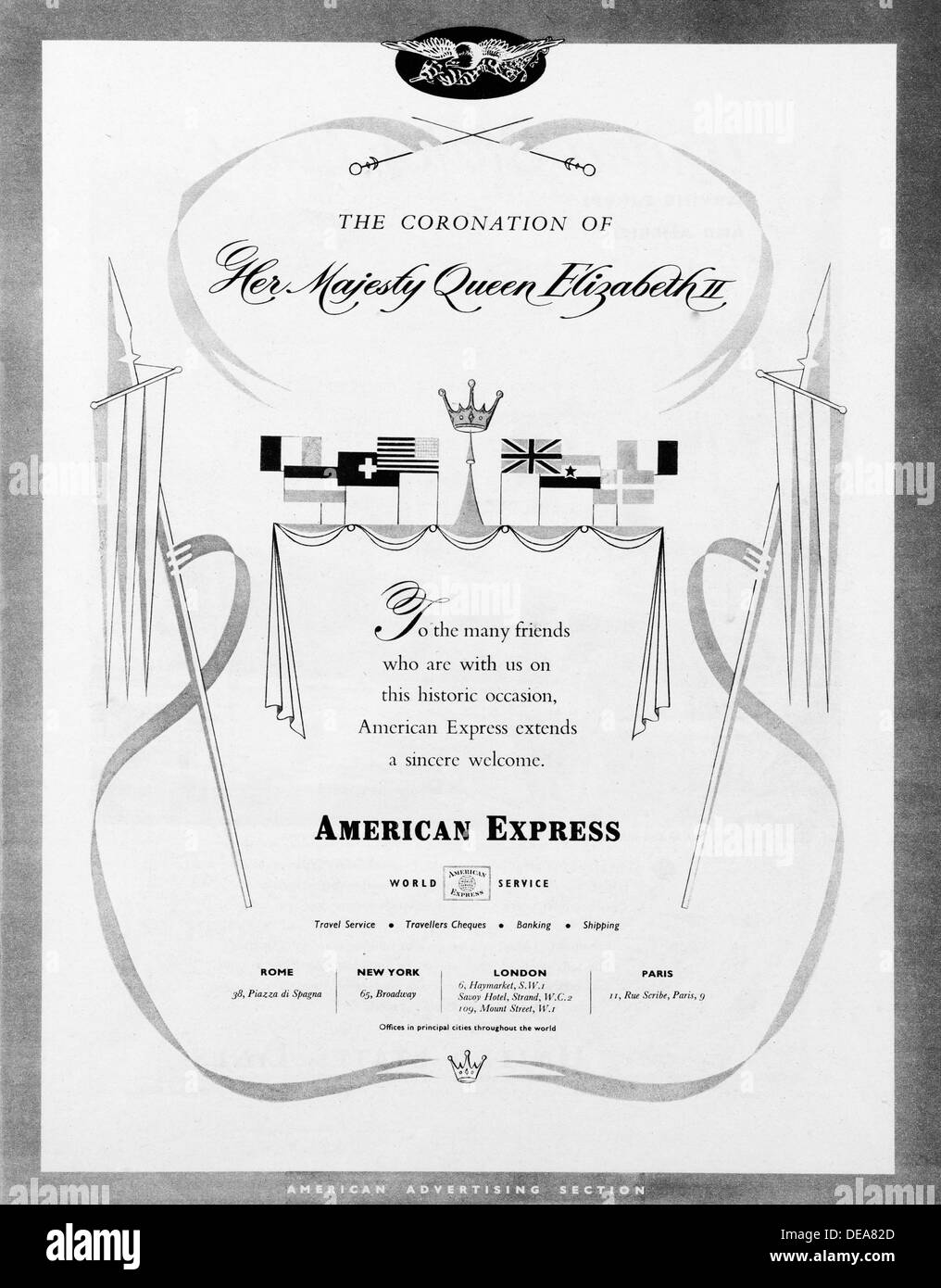 American Express advert in the UK in 1953 - Stock Image