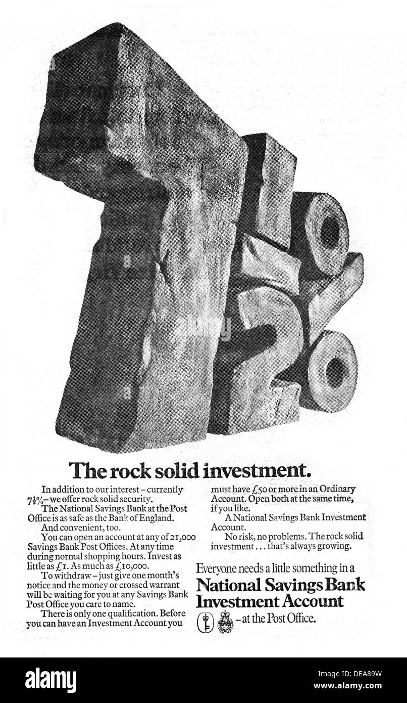 7.5% interest rate in 1971 in the UK from the National Savings Bank - Stock Image