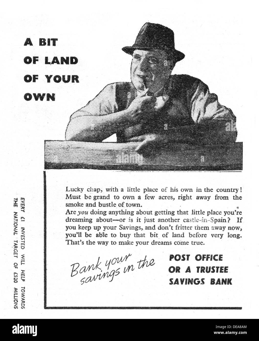 TSB Trustee Savings Bank advert in 1946 - Stock Image