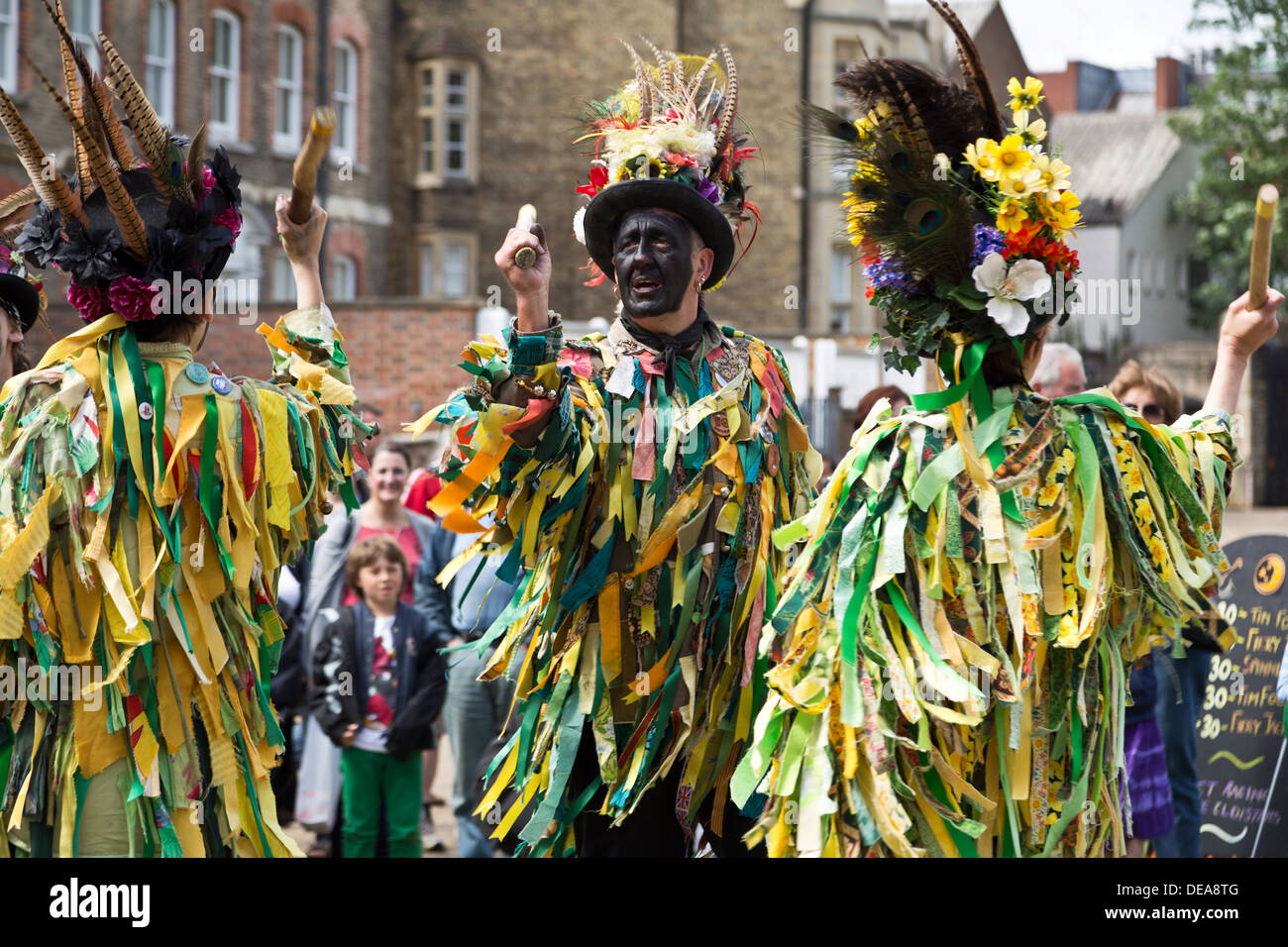 Morris dancers with black painted faces at the Peterborough Heritage Festival 22 June 2013, England - Stock Image