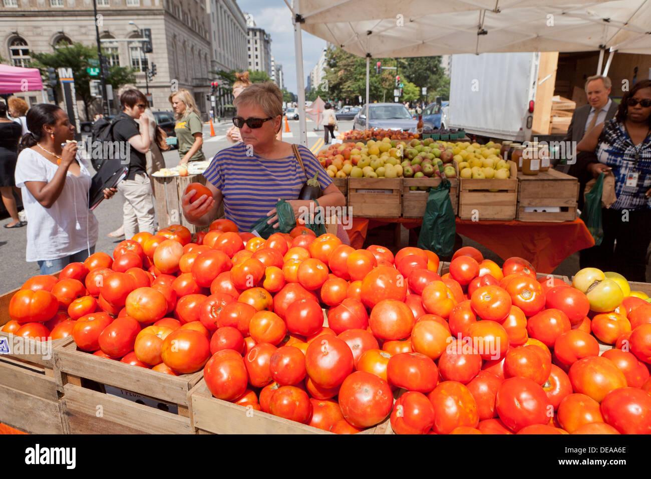 Woman buying fresh tomatoes at farmers market - Washington, DC USA Stock Photo