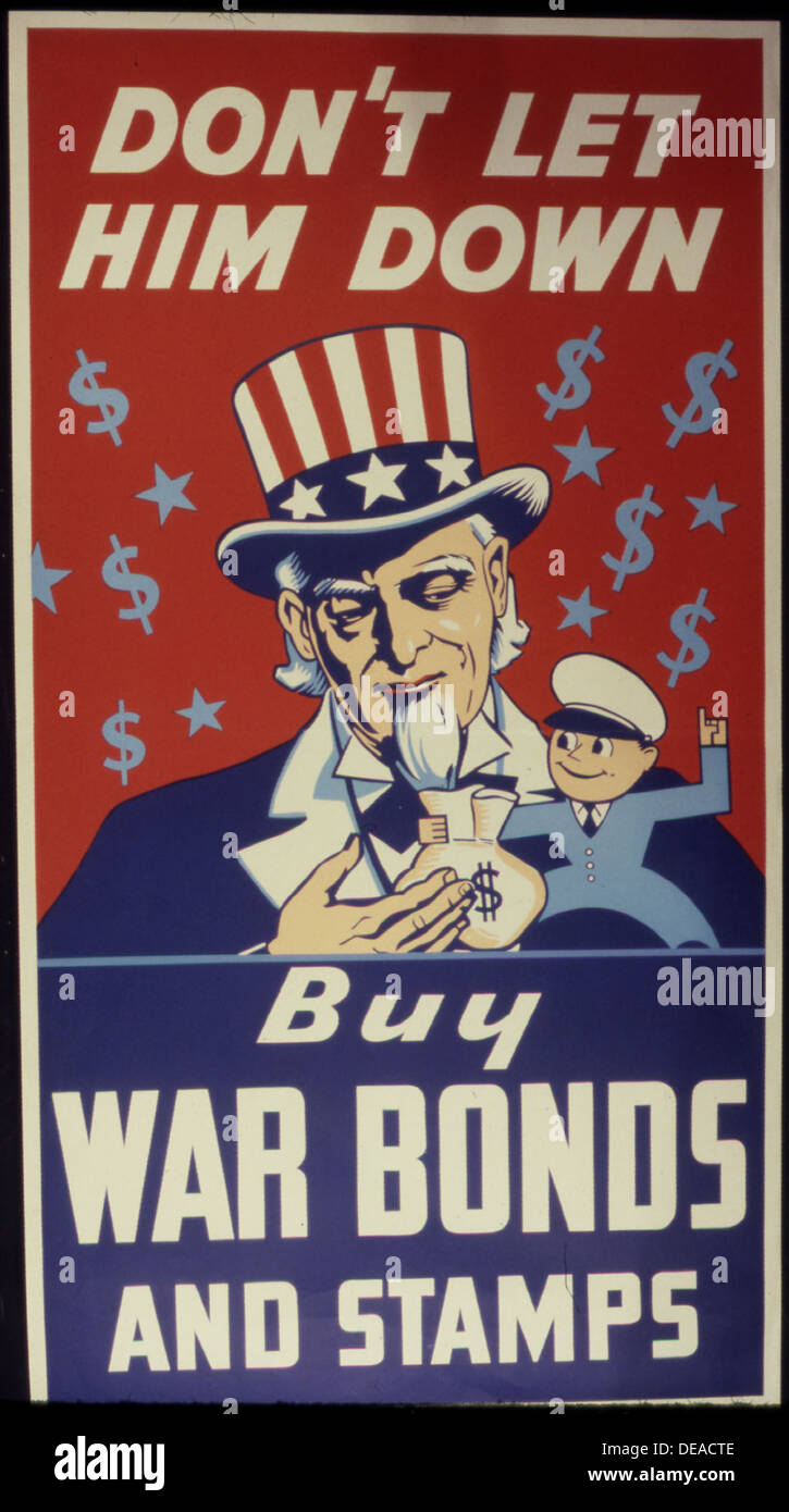 Don't Let Him Down. Buy War Bonds and Stamps 534111 Stock Photo
