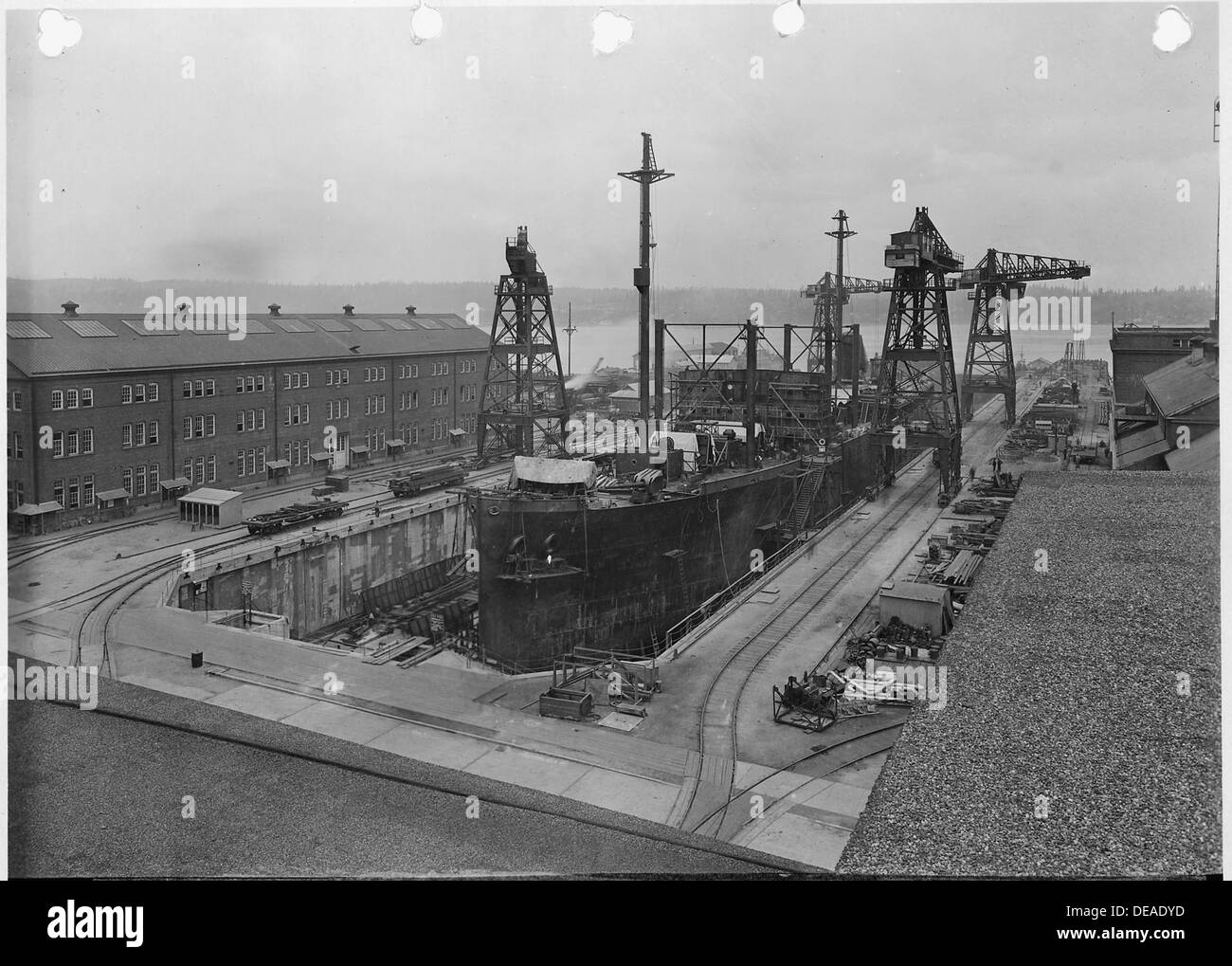 General view of Shipbuilding Dock with Ammunition Ships in process of construction. 299640 - Stock Image