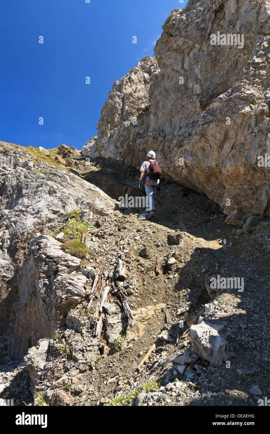 hiking on mountain ridge in San Pellegrino valley, Trentino, Italy Stock Photo