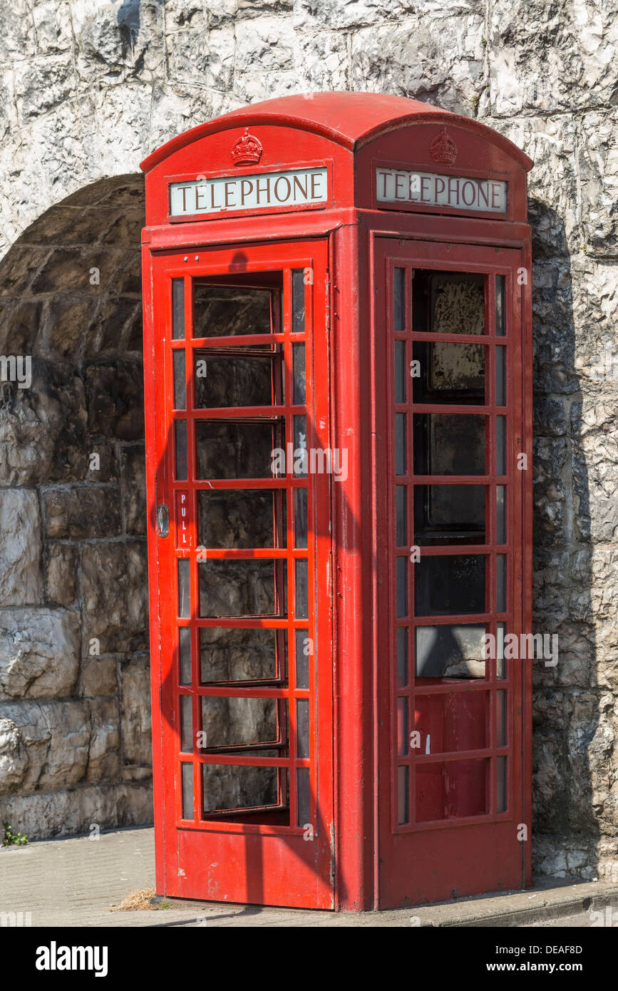 British red telephone box, Carnlough, Northern Ireland, United Kingdom, Europe - Stock Image