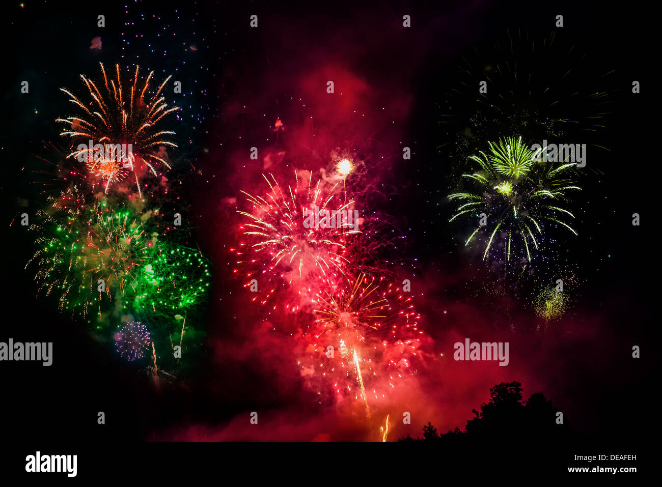 Fireworks, solstice celebrations, Riedenburg, Lower Bavaria, Bavaria, Germany - Stock Image