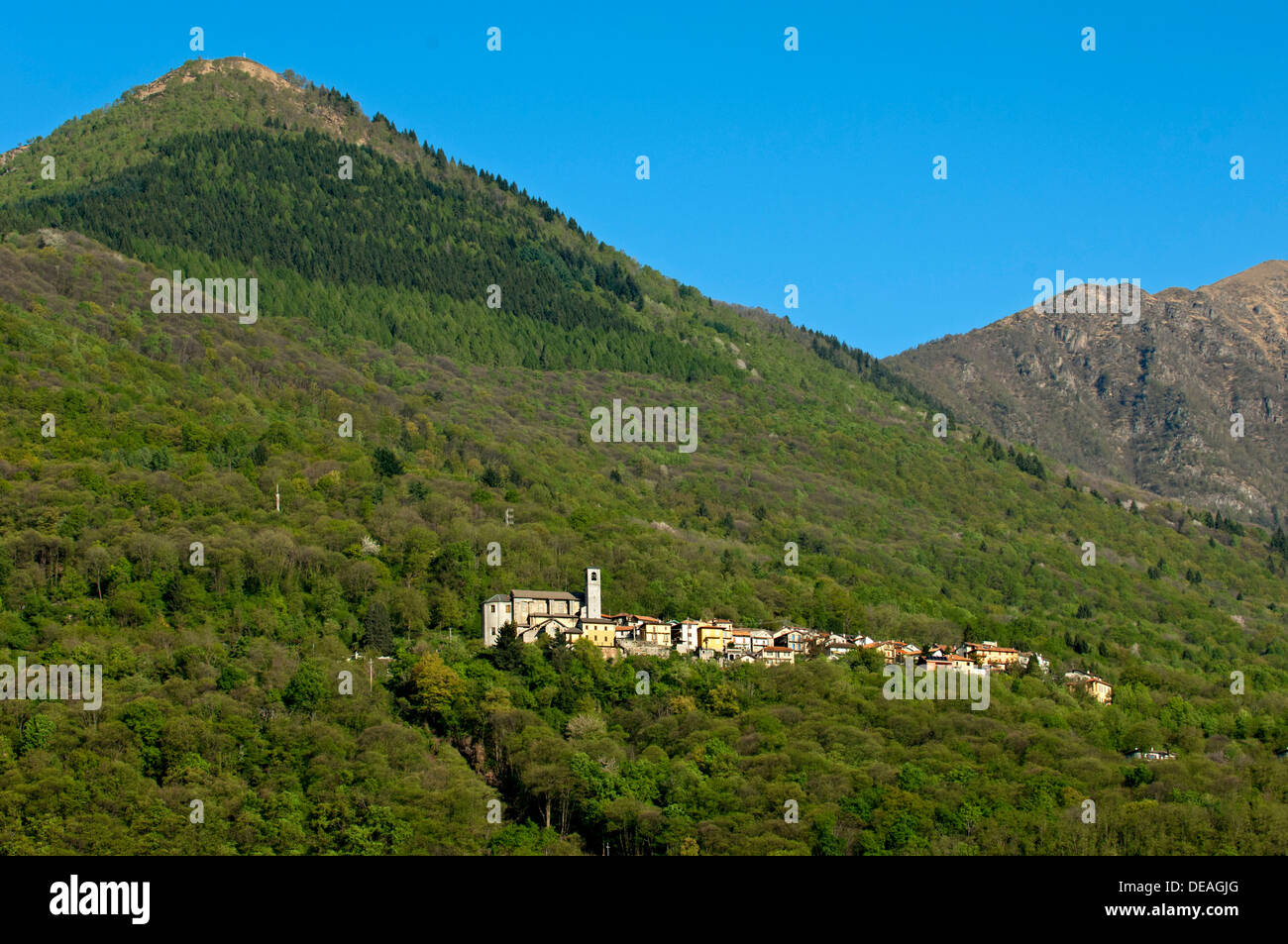 The hamlet of Sant'Agata at Cannobio in a deciduous forest on a mountain slope, Cannobio, Piedmont, Piemont, Italy Stock Photo