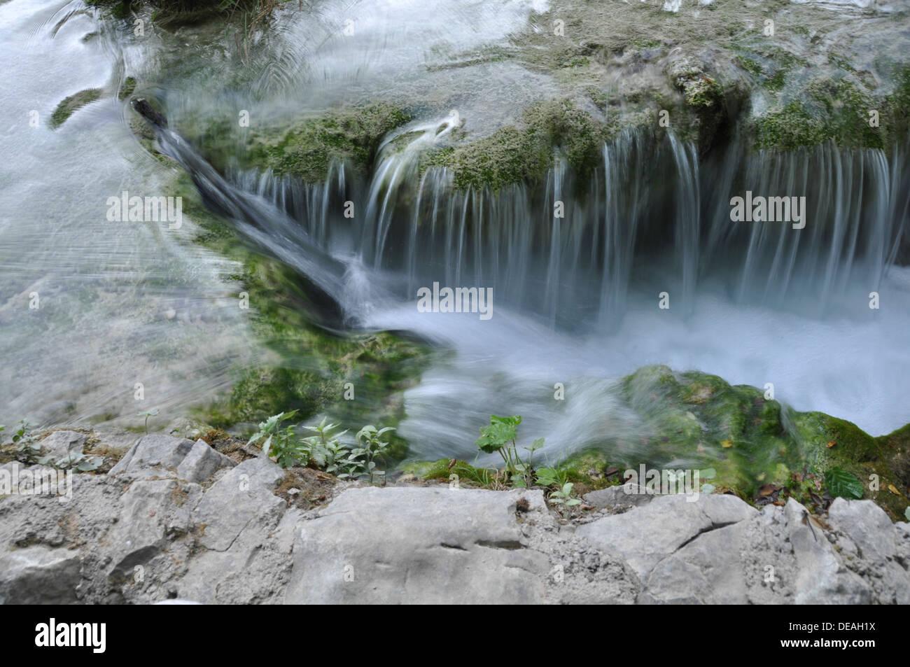 Natural waterfalls and cascades photographed at Plitvice Lakes National Park, Croatia Stock Photo