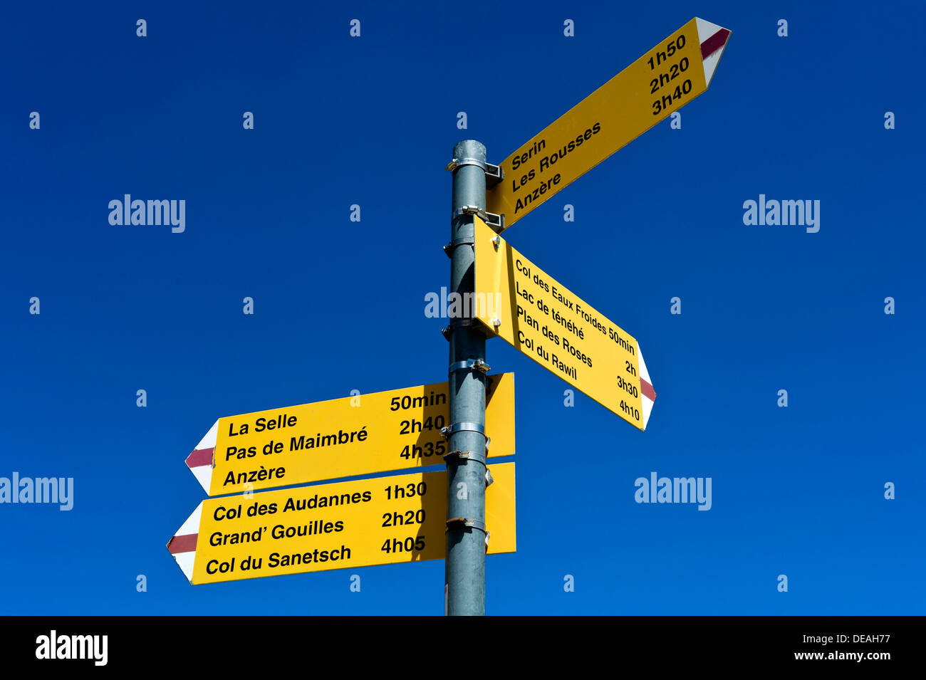 Signposts for hiking routes at the Cabane des Audannes, Bernese Alps, Canton of Valais, Switzerland - Stock Image