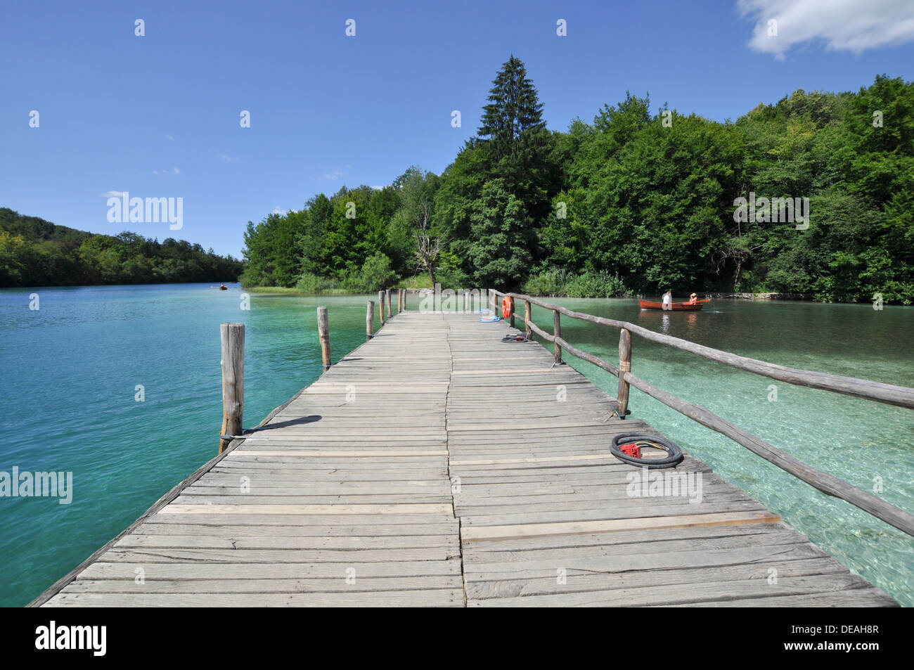 Croatia, Plitvice Lakes National Park, A wooden pathway provides easy access Stock Photo