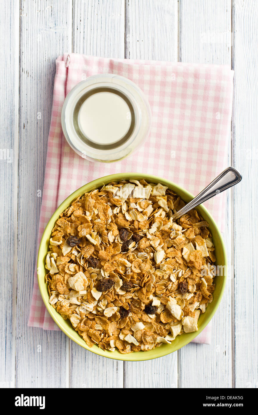 top view of crunchy muesli in bowl - Stock Image