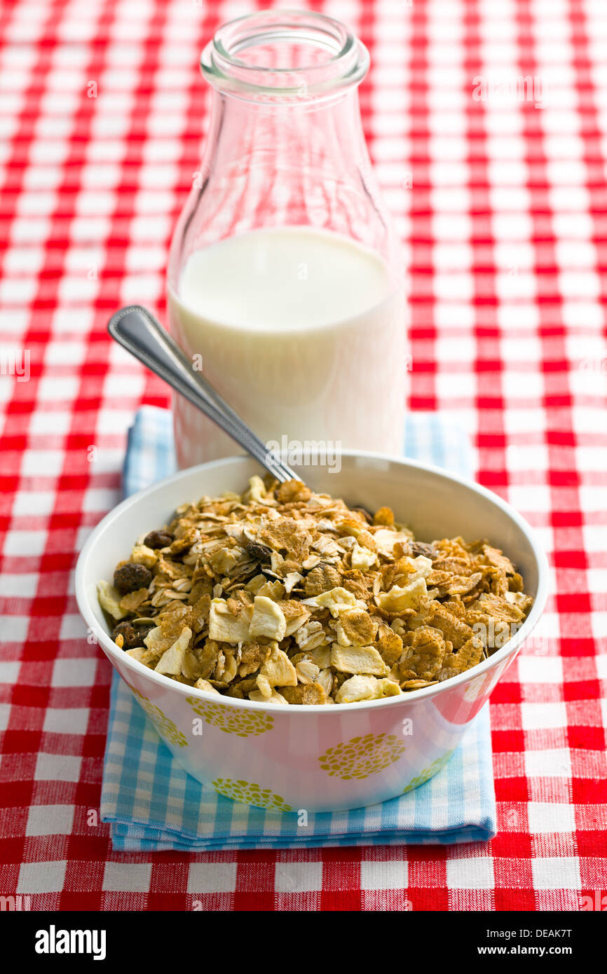 muesli and milk on checkered tablecloth Stock Photo