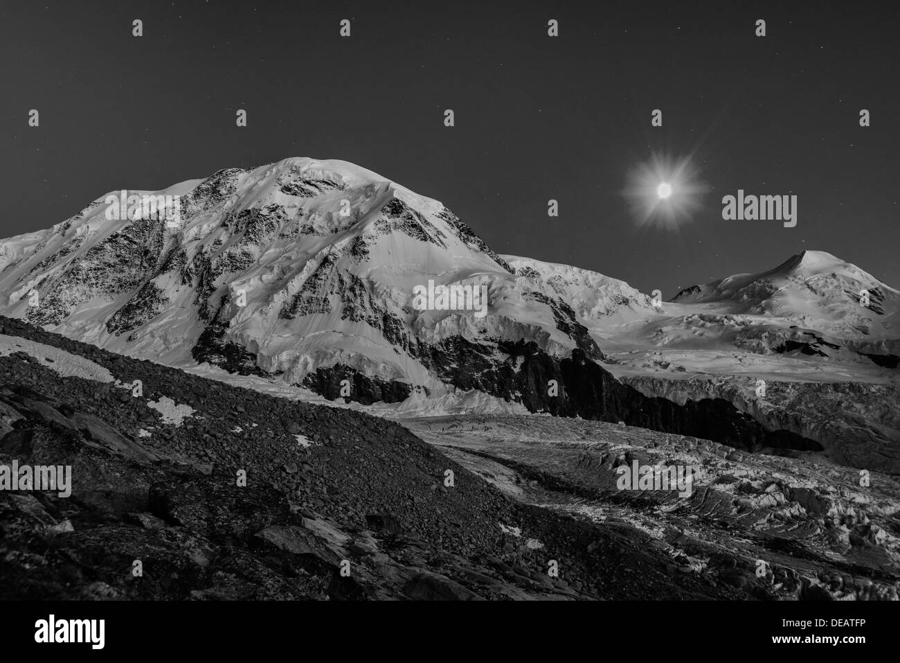 A moonlit night over Liskamm, Stock Photo