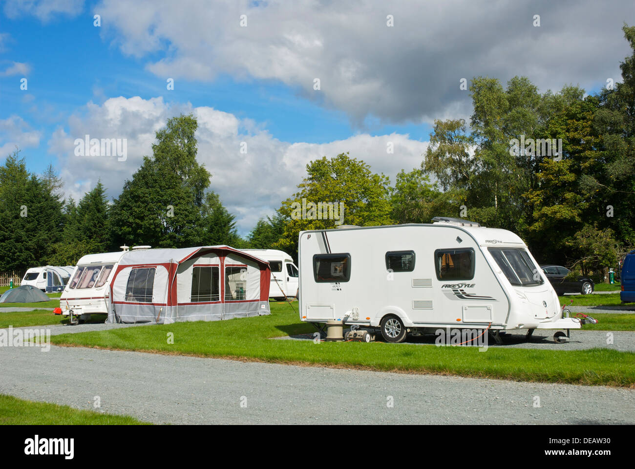 The Croft campsite in the village of Hawkshead, Lake District National Park, Cumbria, England UK - Stock Image