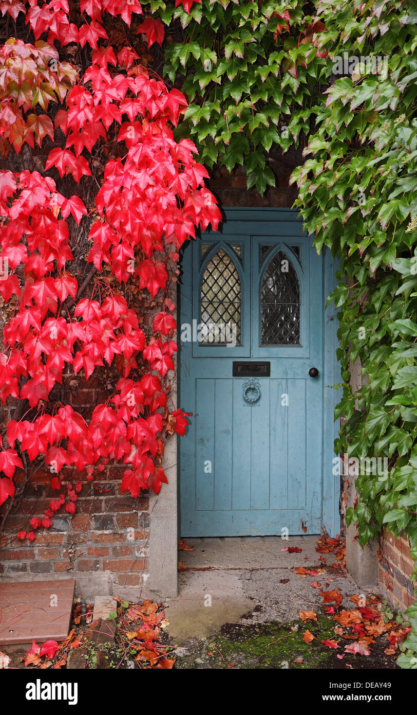Autumn Colours Around An English Cottage Front Door Stock Photo