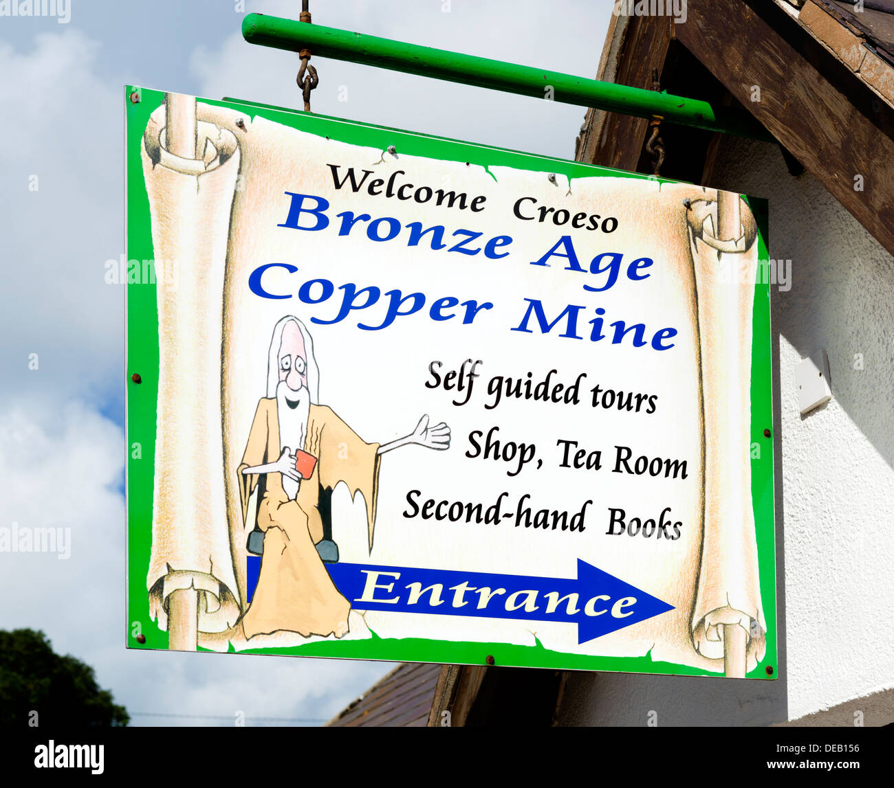 Entrance sign to Bronze Age Copper Mines, The Great Orme, Llandudno, Conwy, North Wales, UK - Stock Image